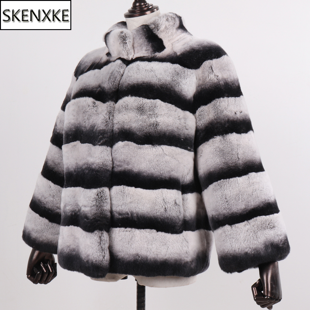 2019 New Women Real Natural Rex Rabbit Fur Coat Lady High Quality 100% Genuine Rex Rabbit Fur Chinchilla Color Winter Jacket