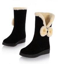 Süße Niedliche Flache Ferse Frau Stiefel Komfortabel Warm Halten frauen Schuhe Gute Qualität Erwachsene Bowtie frauen Winterstiefel