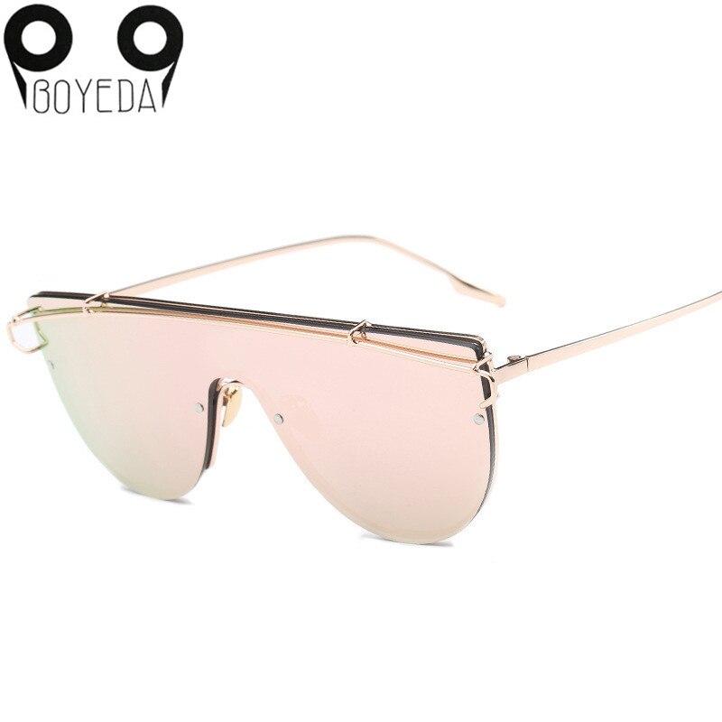 BOYEDA 2017 High Quality Women Luxury Brand Designer Metal Fashion Rimless Overall Sunglasses Men Square Mirror Sun Glasses