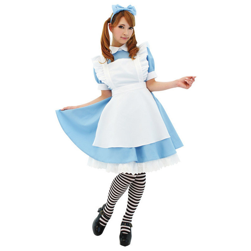 alice in wonderland costume adult girls women kids children cosplay Sissy Maid Lolita Cosplay Fantasia Carnival fancy dress blue