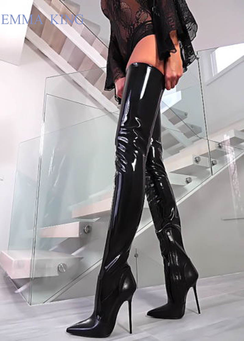 2019 Women Black Shinny Patent Leather Thigh High Boots Sexy Stiletto Heels Long Boots Pointed Toe Shoes Woman Over Knee Boots2019 Women Black Shinny Patent Leather Thigh High Boots Sexy Stiletto Heels Long Boots Pointed Toe Shoes Woman Over Knee Boots