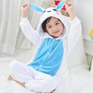 Image 2 - Combinaison Cosplay bleu enfant, Costume dhiver, motif lapin, Kigurumi, Anime, vêtements de nuit animaux, pyjamas, pour fille et garçon