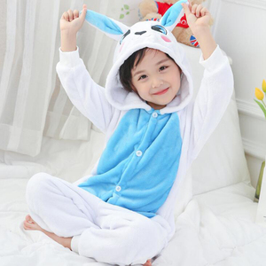 Image 2 - ילד כחול ארנב קוספליי Kigurumi Onesies ילד קריקטורה חורף אנימה סרבל תלבושות לילדה ילד בעלי החיים הלבשת פיג מה