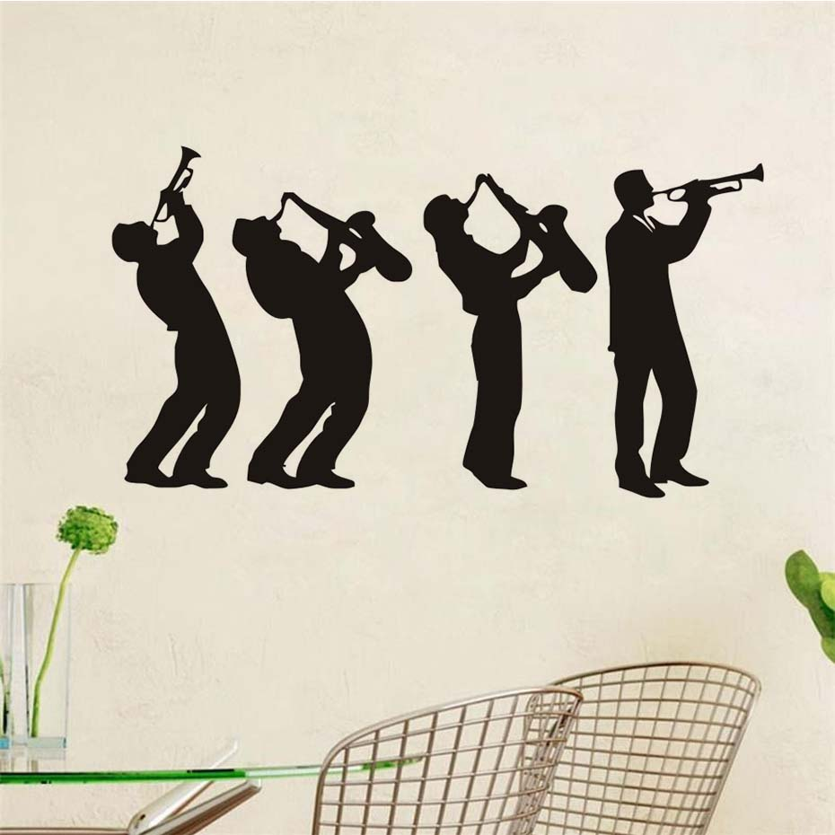 4 музыкант Наклейки на стену Творческий музыка группы Книги по искусству Дизайн Обувь для мальчиков игры Саксофоны силуэт виниловые наклей...