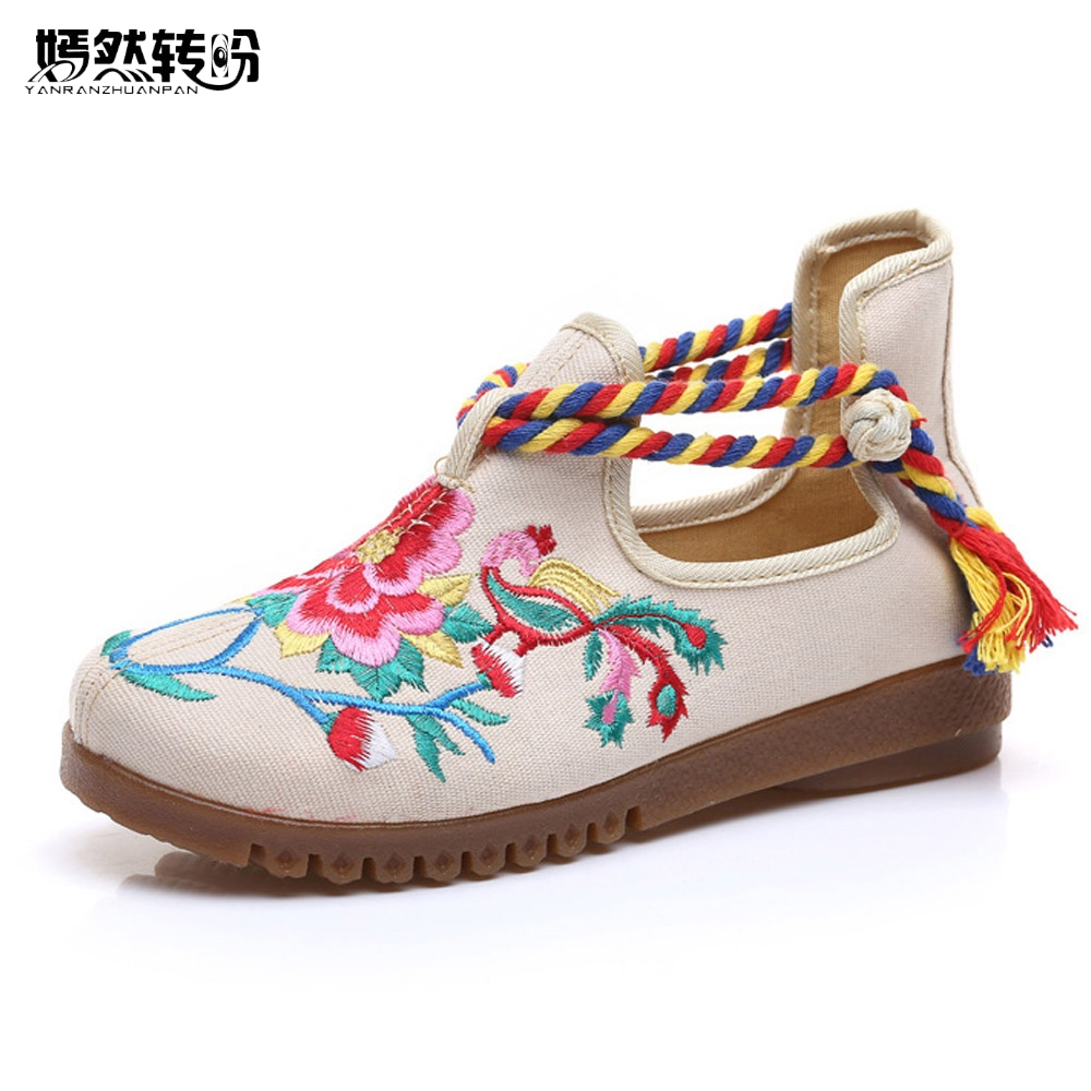 Women Flats Canvas Shoes Floral Embroidered Ladies Comfortable Cotton Platforms Zapato Mujer Unique Strap Ballet Woman
