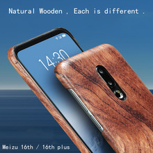 Custodia per telefono in legno naturale per MEIZU 16th 16th Plus custodia cover bambù/noce/palissandro/legno di ghiaccio nero/conchiglia (vero legno)