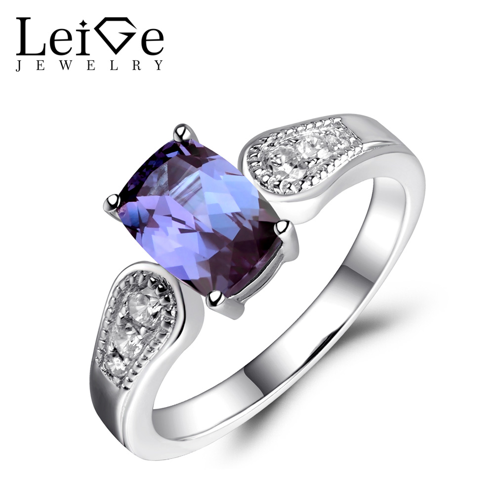 leige jewelry alexandrite ring cushion cut 68mm wedding engagement rings for women gemstone fine jewelry color changing - Alexandrite Wedding Ring