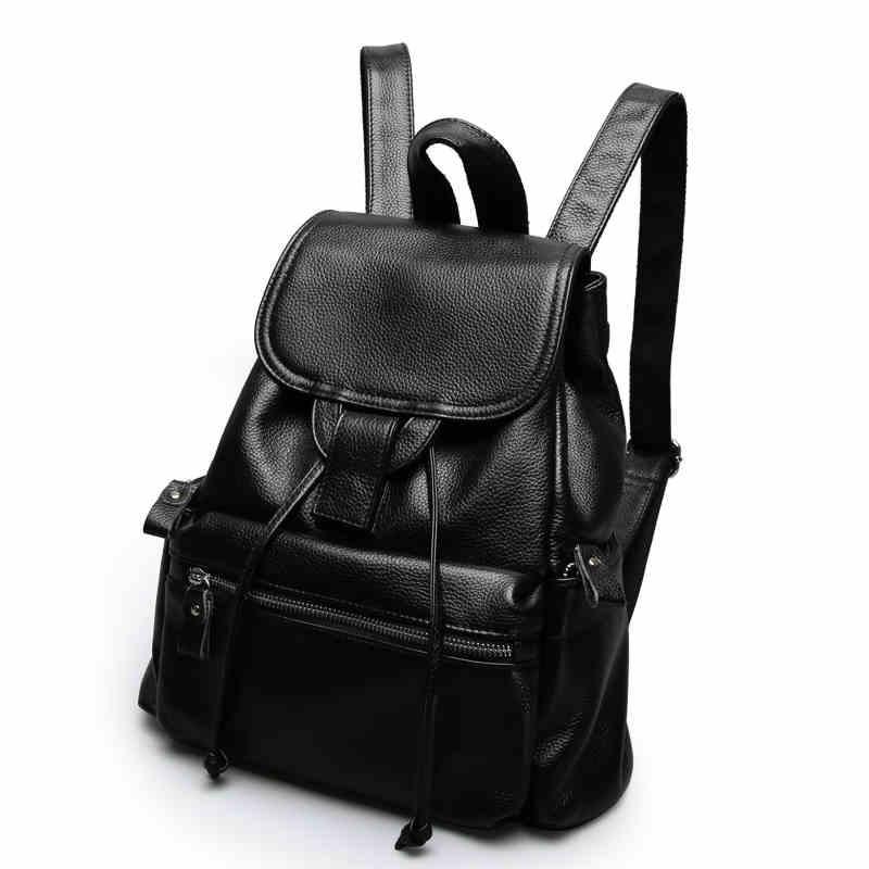 Classic atmosphere Genuine leather women backpack New Elegance Large capacity Buckle buckle Calfskin Ladies Travel bag double buckle glitter backpack
