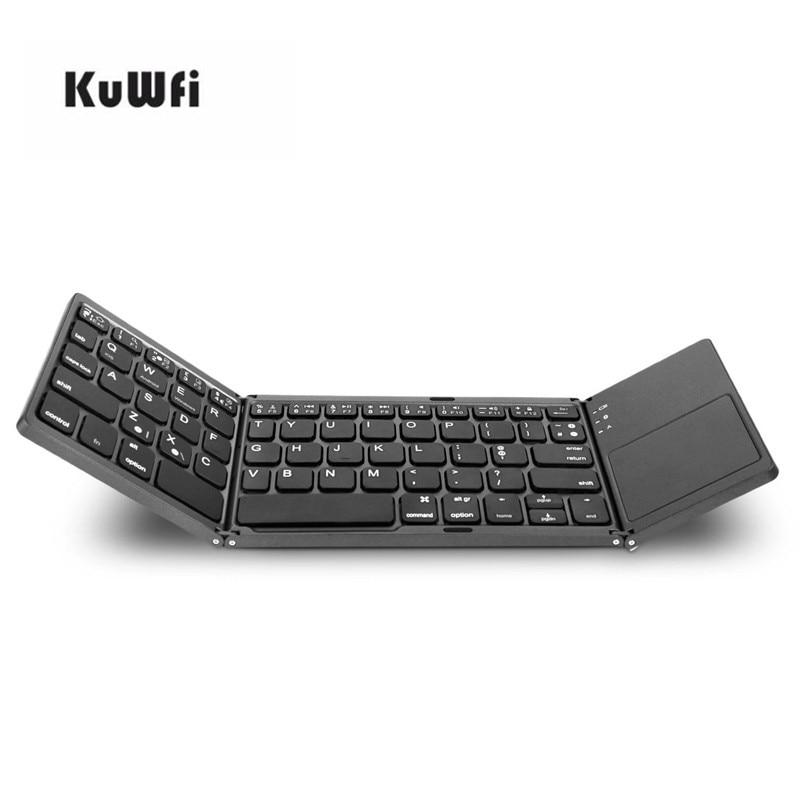 KuWfi Twice Folding Bluetooth Keyboard MinI Portable Wireless Foldable Touchpad Keypad For IOS/Android/Windows Ipad Tablet