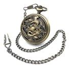 Two Red-crowned Crane Auto Self Wind Bronze Tone Case Mechanical Pocket Watch Skeleton Steampunk Roman Number Men Women Watch