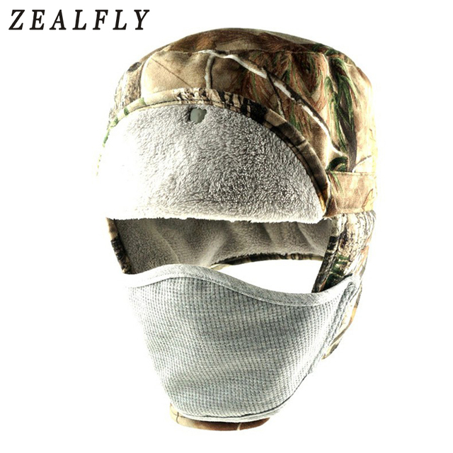 New Waterproof Cotton Winter Bomber Hats Female Outdoor Balaclava Mask Full  Face Mask Men Russian Ushanka Hat Camo Hunting Cap d47947b6275