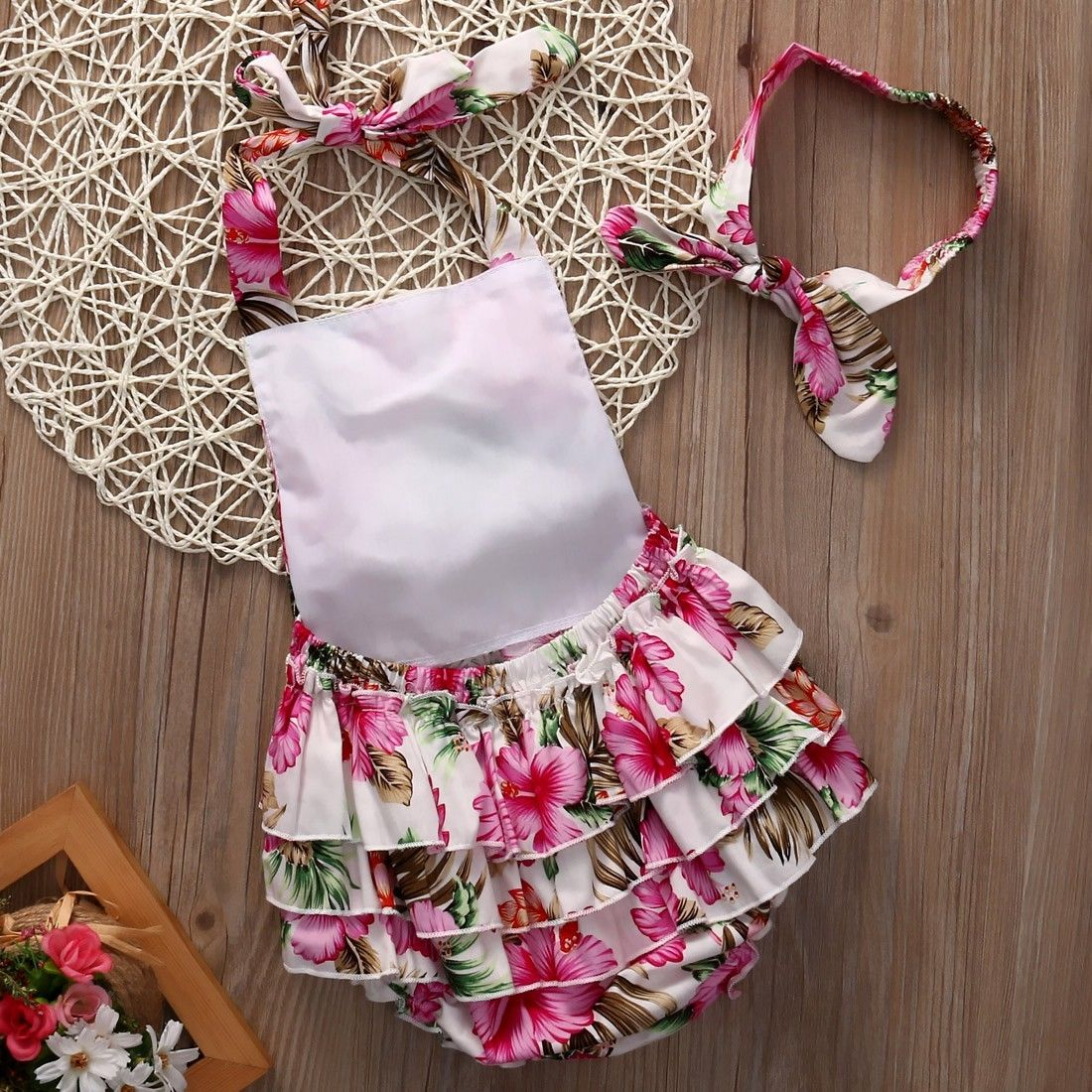 2018 Fashion Adorable Baby Girls Floral Bodysuit Ruffle Dress Jumper Sleeveless Summer Sunsuit Outfits 1PCS