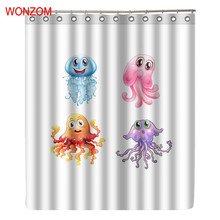 WONZOM Octopus Shower Curtain Waterproof Bathroom Curtain With 12 Hooks Accessories For Home Decor Modern Animal Bath Curtain цена 2017
