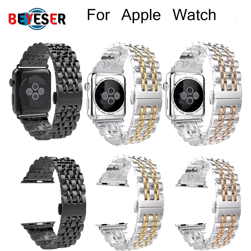 Luxury Ceramic Watchband for Apple Watch 123 38mm 42mm Butterfly Buckle Chain Style Bracelet Band With Adapters for iwatch 4
