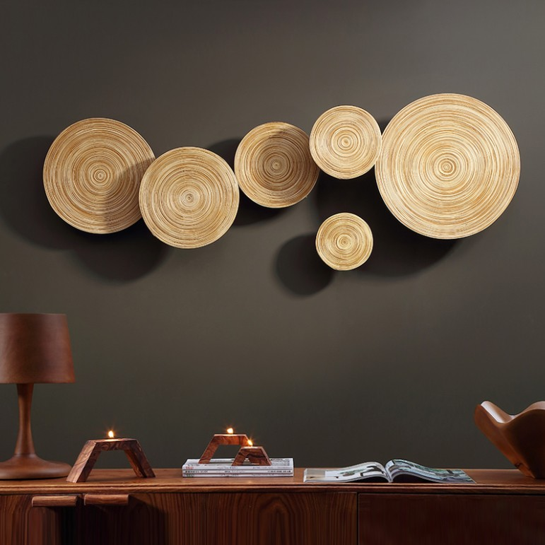 Japanese Round Wooden Wall Hanging Stickers For Living Room Bedroom Home Decor Wood Crafts 3D Hanging Decorations Different size
