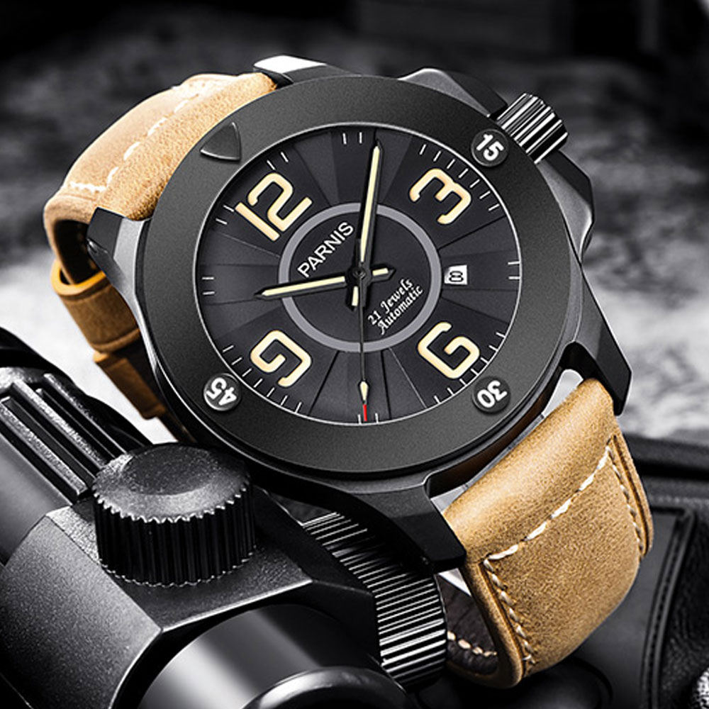 Luxury PARNIS Commander Luminous Mens Wristwatch Sapphire Glass 21 Jewels Miyota Automatic Self-Wind Mechanical Watch WristwatchLuxury PARNIS Commander Luminous Mens Wristwatch Sapphire Glass 21 Jewels Miyota Automatic Self-Wind Mechanical Watch Wristwatch