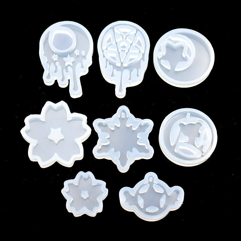 SNASAN 8pieces Silicone Mold For Jewelry Tear Moon Star Trojan Resin Silicone Mould Handmade Tool Diy Epoxy Resin Molds