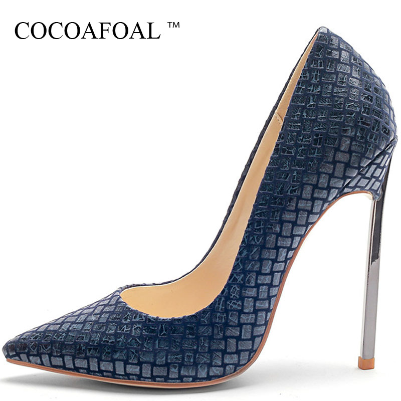 COCOAFOAL Womem's High Heels Shoes Sexy Valentine Shoes Red Blue Woman Plus Size 33 Pointed Toe Wedding Bridal Shoes Pumps 2018 cocoafoal women s high heels shoes sexy heel shoes woman pointed toe stiletto plus size 33 43 wedding heels pumps red blue 2018