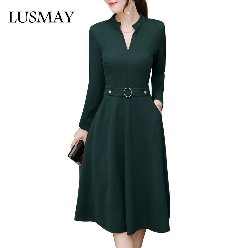 Elegant Midi Dress Women Autumn 2018 New Fashion Plus Size