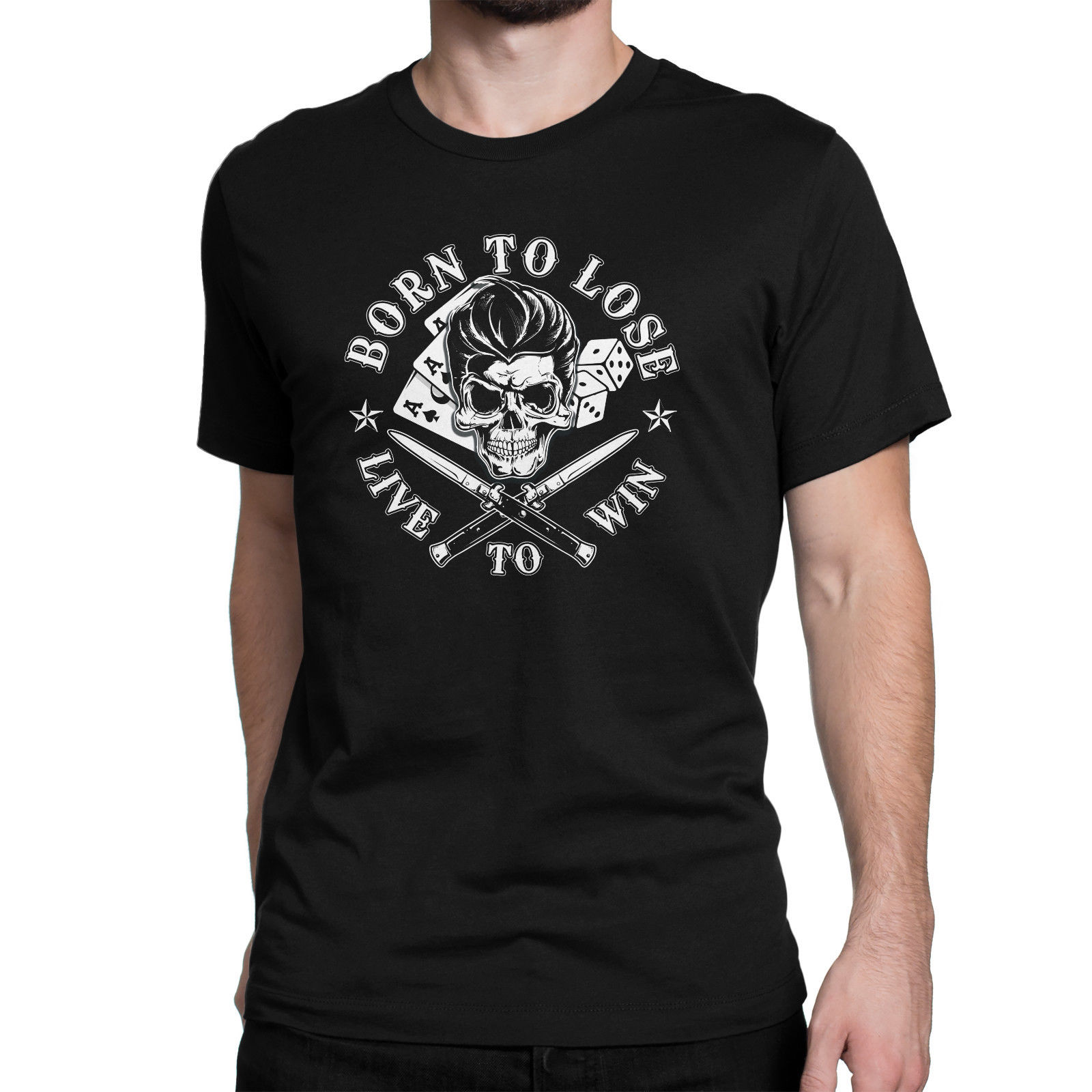 2018 Hot sale Fashion New Rockabilly Black Men Printed T-shirt Born To Lose Live To Win Tee shirt