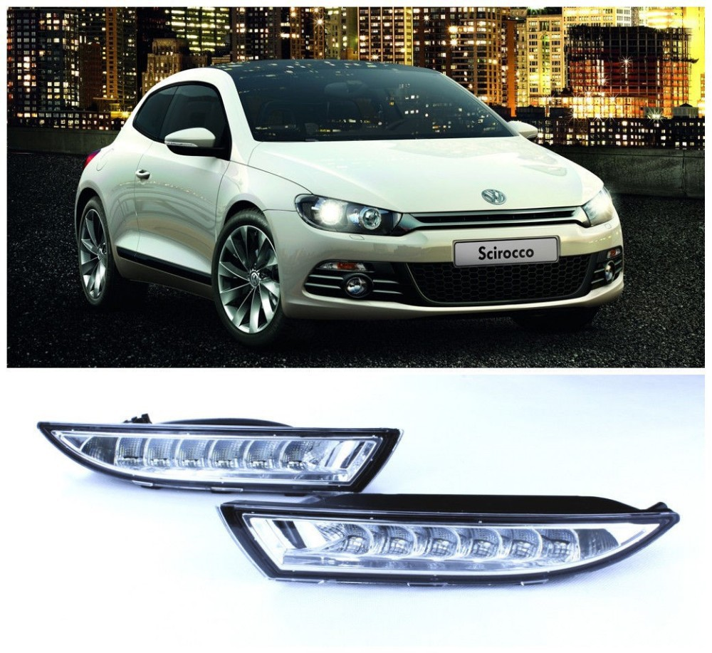 free shipping , LED Driving Lamp Daytime Running Lights DRL Turn Signal fit for VW Scirocco MK3 free shipping bumper grille grill drl running driving led fog lamp lights for 97 06 vw golf mk4