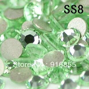 1440 шт./пакет ss8 светло-зеленый цвет, не исправление плоской задней Стразы Бесплатная доставка DIY украшения для ногтей телефон ноутбук искусс...