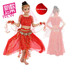 2018 New Arrival 6pcs Children Belly Dance Costume Child Indian Dancing Dress Sets Girl's Performance Clothing Dress For Kids