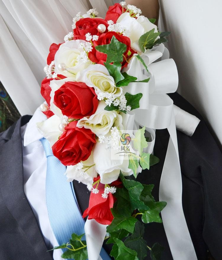 Blue white Waterfall Elegant Wedding Bouquets Artificial Bridal Brooch Bouquet Wedding Bouquet For Brides Bruidsboeket 2017 6