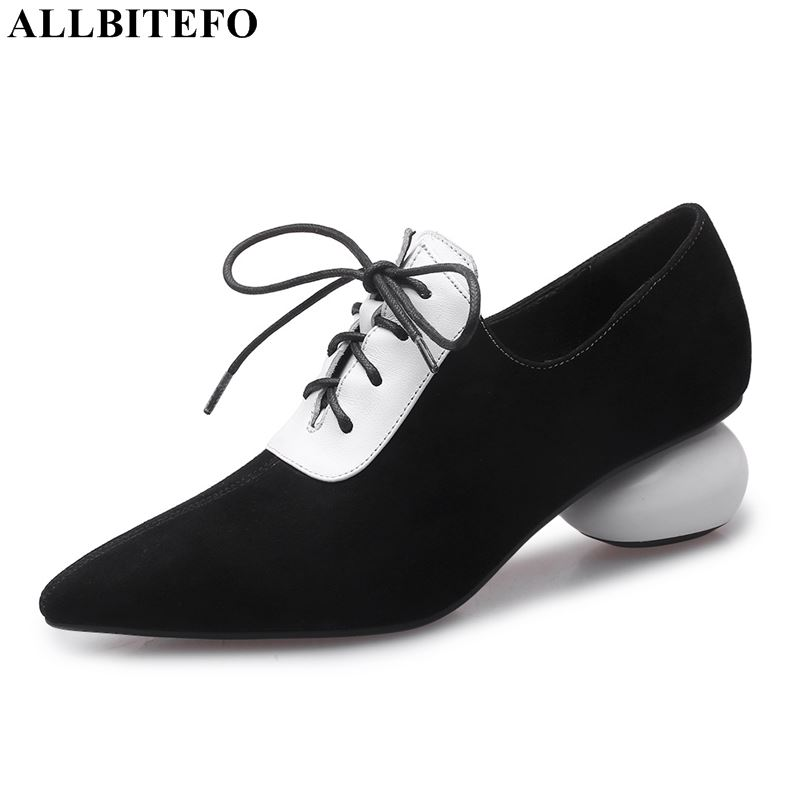 ALLBITEFO High Quality Genuine Leather High Heels Brand Fashion Casual Women High Heel Shoes British Style Women Heels Shoes