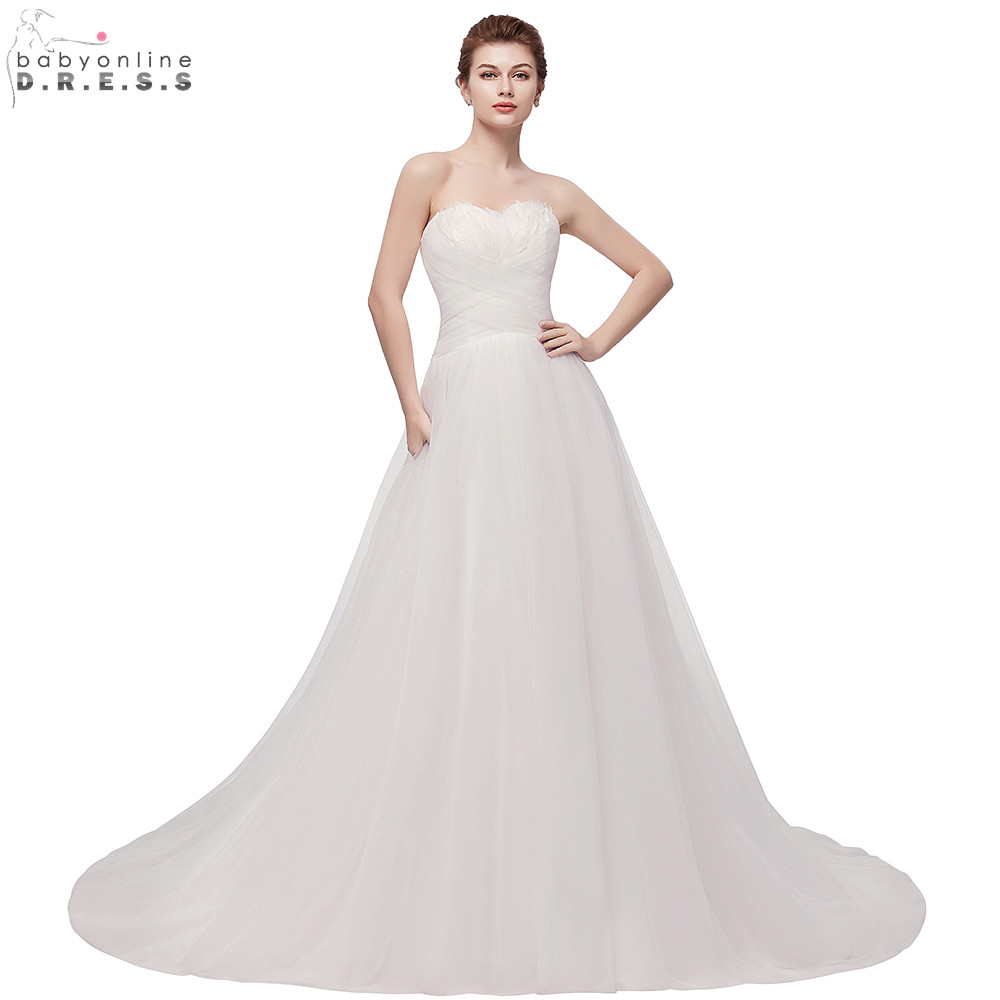 Vintage Feathers Tulle Wedding Dresses 2019 Summer