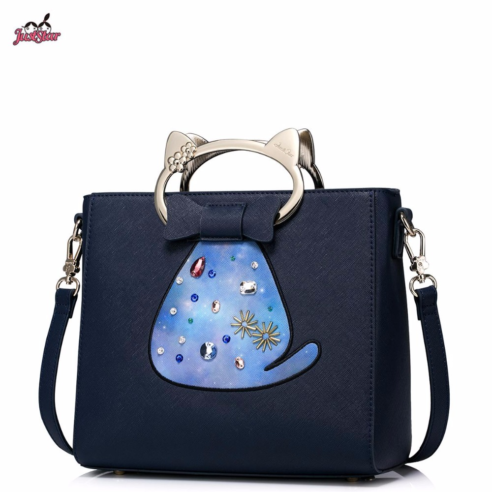 Just Star Brand Design Fashion Cat Handle Diamonds PU Women Leather Girls Ladies Handbag Shoulder Crossbody Bags