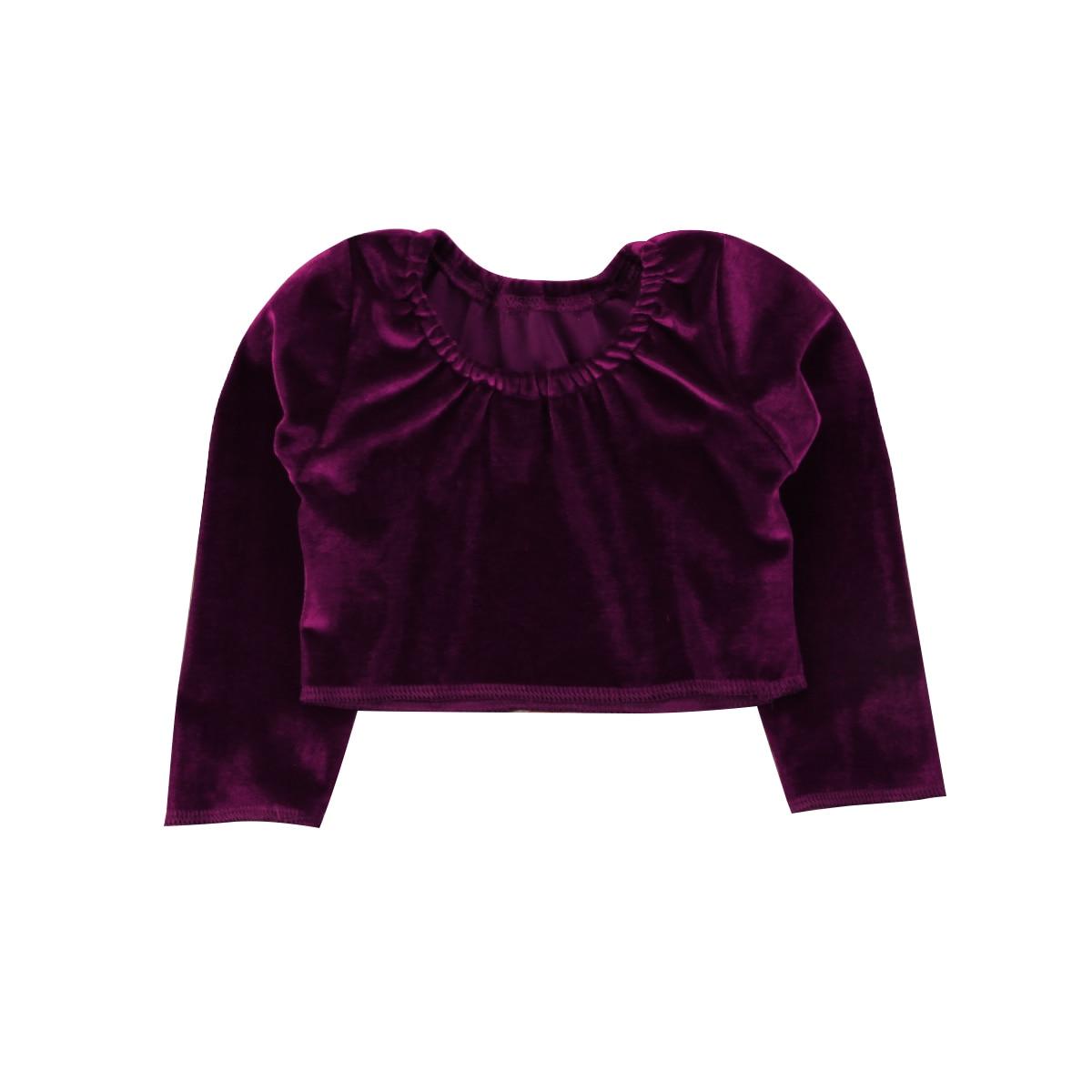 Toddler Kids Baby Girls Long Sleeve O-Neck Top T-shirt Tee Wine Red