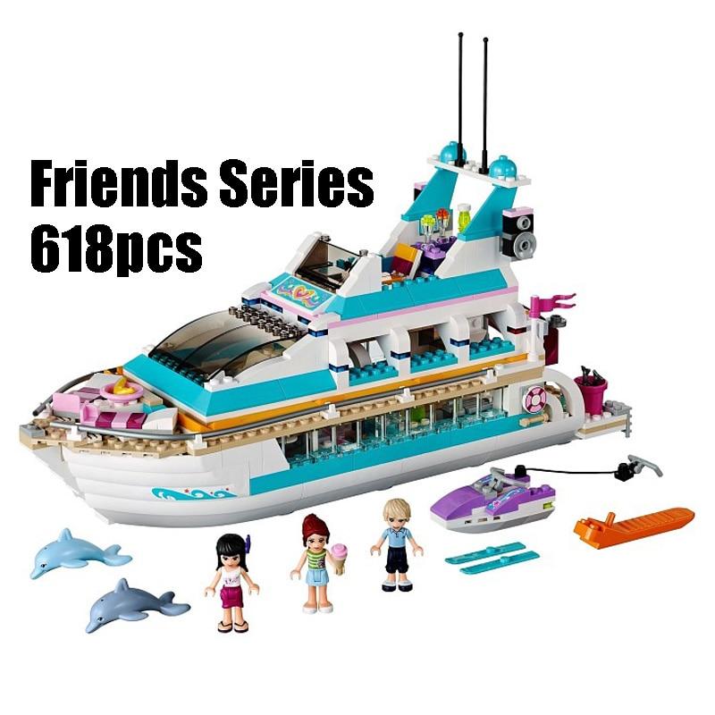 Compatible con LEGO amigos 41015 modelo 01044 618 unids bloques Dolphin Cruiser buque ladrillo figura juguetes para niños