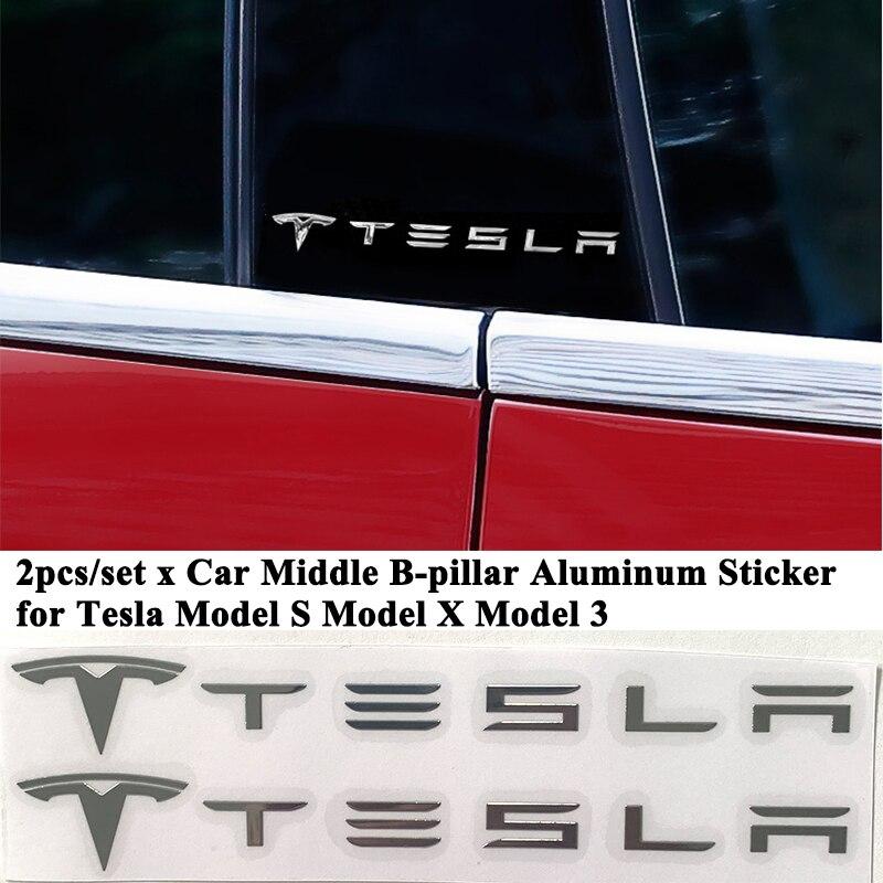 2 pçs/set Porta Do Carro Etiqueta Do Logotipo Decoração Janela do Quarto Pilar Coluna Emblema Styling Acessórios para Tesla Model S Modelo 3 X