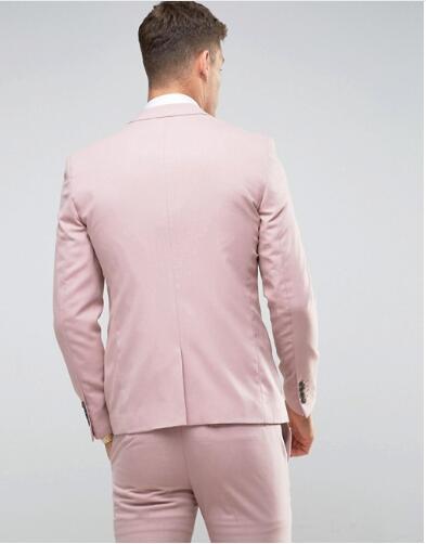 Alfaiate feito rosa ternos de casamento dos homens ajuste fino noivo festa de formatura blazer masculino smoking jaqueta + calças colete traje casamento homme terno - 3