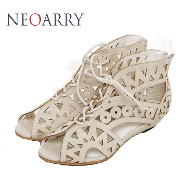 Neoarry Big Size 3143 Fashion Cutouts Lace Up Women Sandals Open Toe Low Wedges