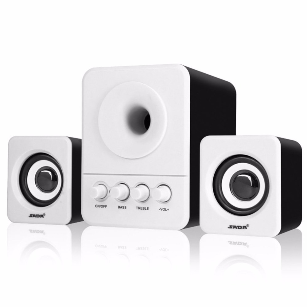 SADA USB2.1 & 3.5mm Audio Interface Speaker Stereo Subwoofer Audio Portable Speakers For Computer Desktop Laptop