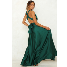 Hollow Out Backless Sexy Floor Length Dress Emerald Green Shiny Satin DIY Tie-straps Open Loose Long 2019 Summer
