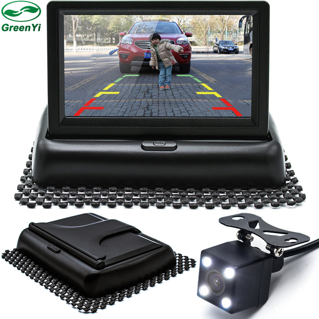GreenYi Авто парковочные системы светодио дный ночное видение автомобиля CCD заднего вида камера с 4,3 дюймов Цвет автомобиля видео складной монитор камера