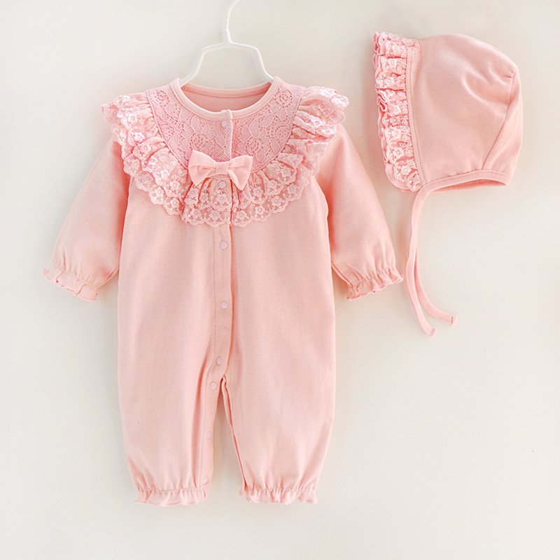 Autumn Newborn Baby Girl Clothes Sets Lace Bow Princess Jumpsuit + Hats Infant Girls Bodysuits Sleeping BagAutumn Newborn Baby Girl Clothes Sets Lace Bow Princess Jumpsuit + Hats Infant Girls Bodysuits Sleeping Bag