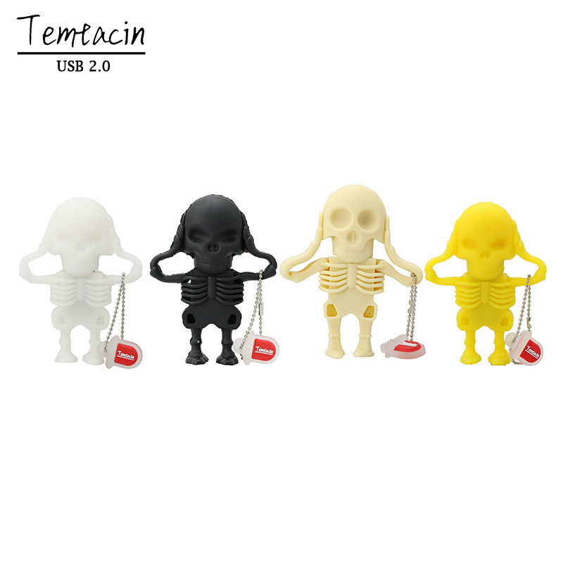 Transport gratuit Skeleton USB Flash Drive Pen Drive 4G 8G 16G 32G 100% Full Capacitate USB Drive U Disc USB Thumb Stick