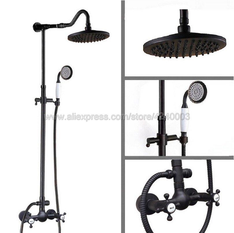 Black Oil Rubbed Brass Rain Shower Set Faucet 8 Rainfall Shower Head W/ Hand Shower Spray Mixer Tap Wall Mounted Krs796