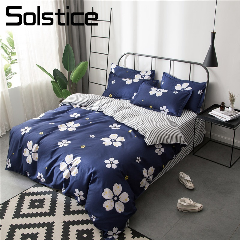 Solstice Home Textile Dark Blue Flower Duvet Cover Pillowcase Stripe Bed Sheet Girl Teen Adult Woman Bedding Linen Set King Twin