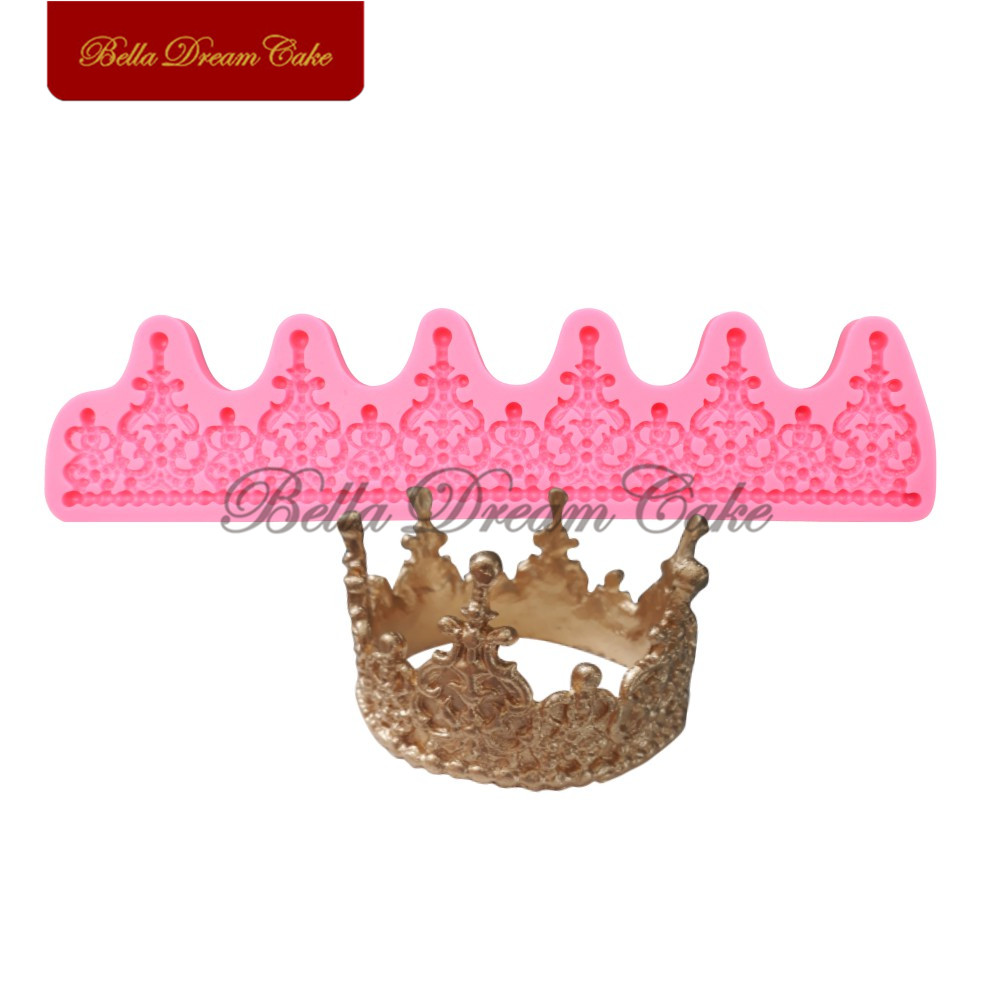 Crown Silicone Mold Lace Cake Border Moulds Fondant Sugarcraft Wedding Decoration Mould Cake Decorating Tools Halloween Bakeware