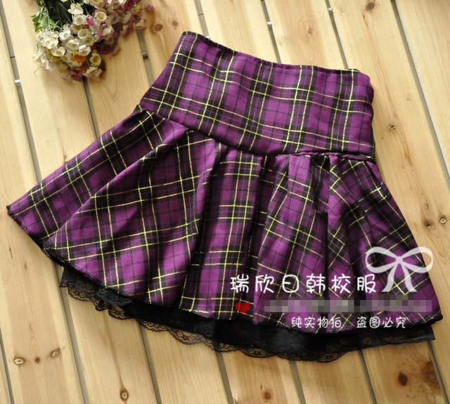 bcd4f2b792c Online Shop 7 Colors Size S-XXXL Plus size High quality Preppy style  students plaid mini skirts school uniform skirts girls lace skirts