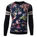 New winter men's cuff stitching personalized printing hedging warm sweater Pullovers  Men's Fashion Wool Sweaters