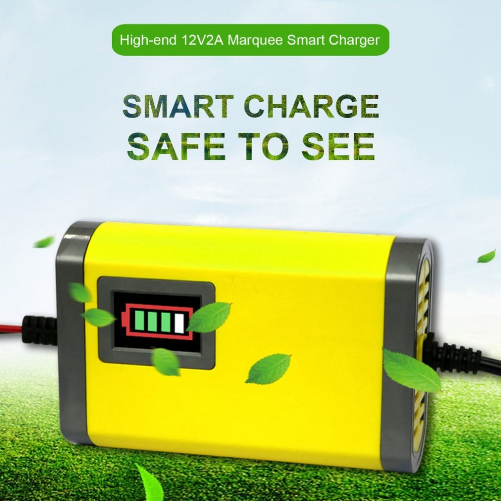 Super Mini Portable 12V 2A Car Battery Charger Adapter Power Supply Motorcycle Auto Smart Battery Charger LED Display Hot Sale