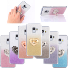 For Samsung Galaxy A8 Plus A8+ Case Heart-shaped 360 Rotate Ring Holder Glitter Gradient Color 2018