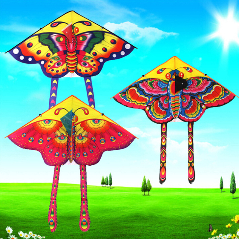 1pcs Colorful 90*50CM Outdoor Sports Butterfly Flying Kite With Winder Board String Children Kids Toy Game