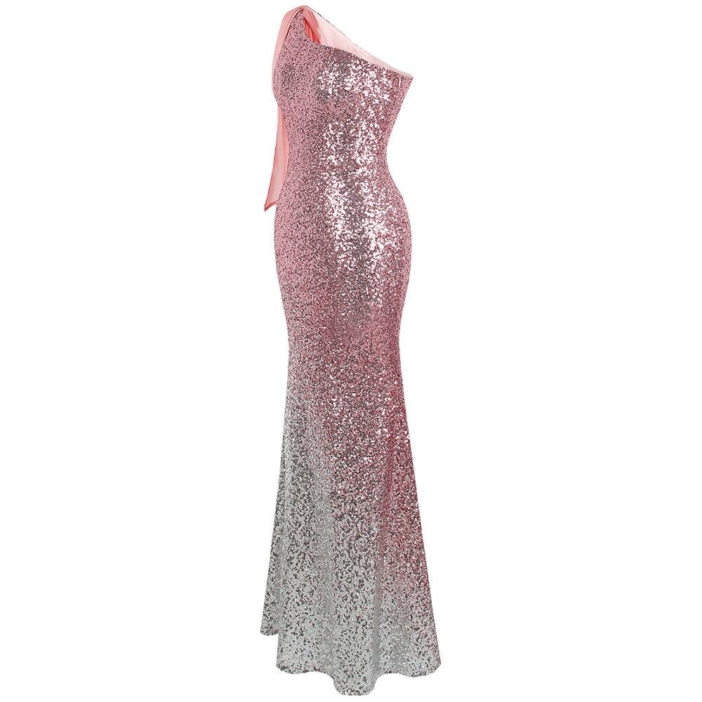 Angel fashions Women's One Shoulder Sparkly Sequin Gradient Splicing Slit Evening Dress 286 Green Gold - 3